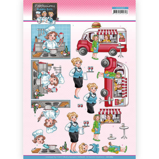 3D Cutting Sheet - Yvonne Creations - Bubbly Girls Professions - Catering