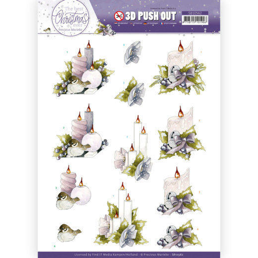 3D Push Out - Precious Marieke - The Best Christmas Ever - Pink Candles