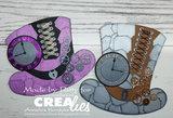 Crealies MDF steampunk hoed dames CLMDF06 _