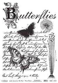 Cadence rijstpapier butterflies - tekst - zwart