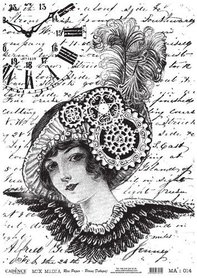 Cadence rijstpapier dame - tandwiel - klok - zwart