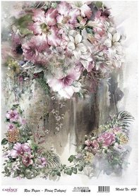 Cadence rijstpapier bloemen roze