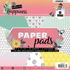 Studio Light Paper Pad 36 vel Create Happiness nr 111  15x15 cm