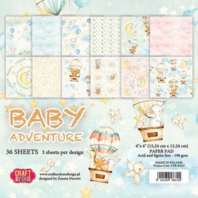 Craft&You Baby Adventure Small Paper Pad 6x6 36 vel