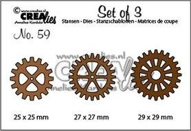 Crealies Set of 3 no. 59 3x tandwielen CLSet59