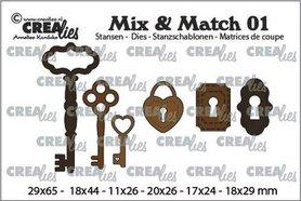 Crealies Mix & Match 3x sleutels+ 2x slot+ 1x hangslot CLMix01