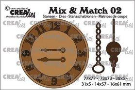 Crealies Mix & Match klok met ketting en slinger CLMix02