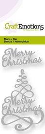 CraftEmotions Die - kerstboom Merry Christmas 3D swirl
