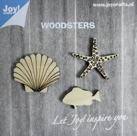 Joy! Woodsters houten figuren (3) zeester schelp vis 6320/0003