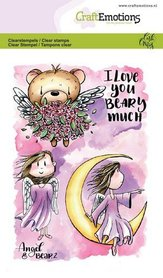 CraftEmotions clearstamps A6 - Angel & Bear 2 Carla Creaties