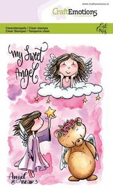 CraftEmotions clearstamps A6 - Angel & Bear 3 Carla Creaties