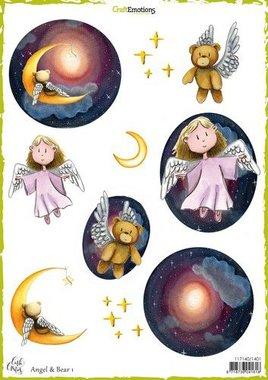 CraftEmotions Decoupage vellen Angel & Bear 1 Carla Creaties