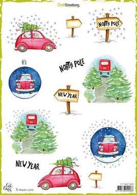 CraftEmotions Decoupage vellen x-mass cars A4 170 grm Carla Creaties