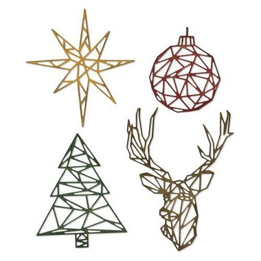 Sizzix Thinlits Die Set - 4PK Geo Christmas 664202 Tim Holtz