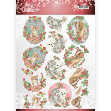 3D Knipvel - Jeanine's Art - Lovely Christmas - Lovely Christmas Pets
