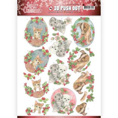 3D Pushout - Jeanine's Art - Lovely Christmas - Lovely Christmas Pets