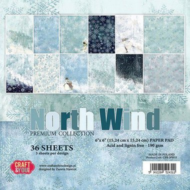 Craft&You North Wind Small Paper Pad 6x6 36 vel