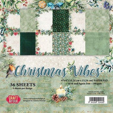 Craft&You Christmas Vibes Small Paper Pad 6x6 36 vel
