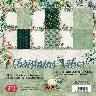 Craft&You Christmas Vibes BIG Paper Set 12x12 12 vel