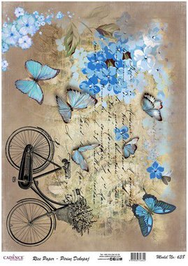 Cadence rijstpapier fiets - vlinders