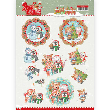 3D Knipvel - Yvonne Creations - Sweet Christmas - Sweet Winter Animals