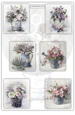 World of Craft Knipvel A4 Nostalgische bloemen in pot Nr46