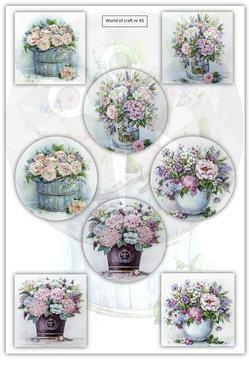 World of Crafts Knipvel A4 Nostalgische bloemen in pot Nr45
