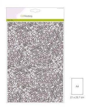 CraftEmotions glitterpapier 5 vel zilver