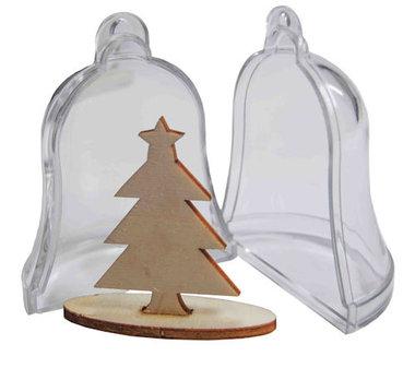 2x plastic klok met dennenboom transparant 6211/0005