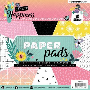 Studio Light Paper Pad 36 vel Create Happiness nr 112 15x15cm