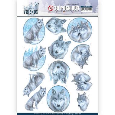 3D Pushout - Amy Design - Winter Friends - Winter Wolves