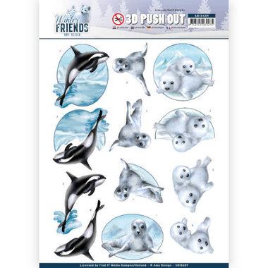 3D Pushout - Amy Design - Winter Friends - Sparkling Sealife