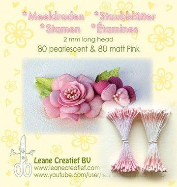 LeCrea - Meeldraden 2mm ±80 matt & 80 parel roze