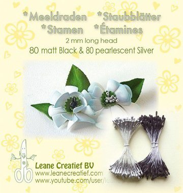 LeCrea - Meeldraden 2mm ±80 matt black & 80 parel zilver