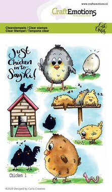 CraftEmotions clearstamps A6 - Chicken 1 Carla Creaties