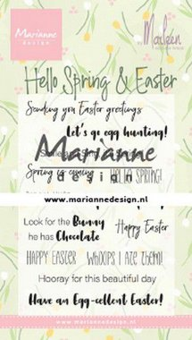 Marianne Design Clear Stamps Marleen's Hello Spring & Easter (Eng) CS1044
