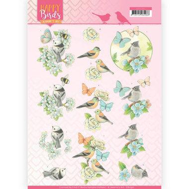 3D Knipvel - Jeanine's Art - Happy Birds - Blauwe dans