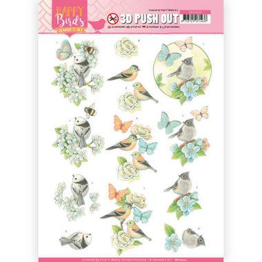 3D uitdrukvel - Jeanine's Art - Happy Birds - Blauwe dans