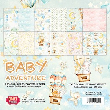 Craft&You Baby Adventure BIG Paper Set 12x12 12 vel
