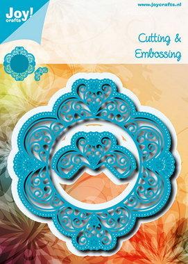Joy! stencil blauwe ornamentmal met snijwerk en bloemen 6002/0699