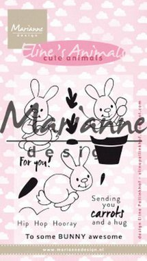 Marianne Design clear stamp eline's cute animals - konijntjes EC0178