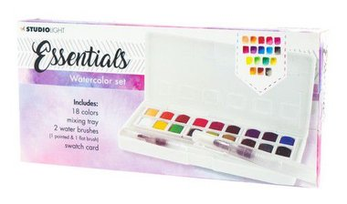 Studio Light Aquarelset 18 Colors + 2 Brushes Essentials nr.01