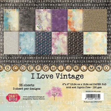 Craft&You I Love Vintage Small Paper Pad 6x6 36 vel