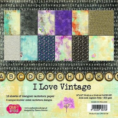 Craft&You I Love Vintage Big Paper Set 12x12 12 vel