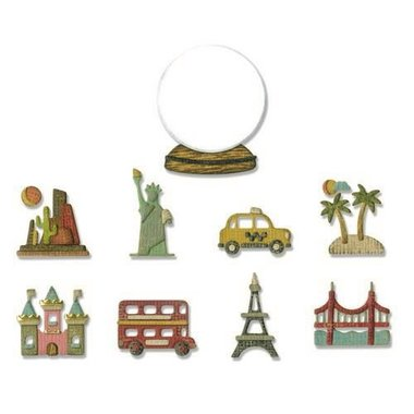Sizzix Thinlits Die Set - 10PK Tiny Travel Globe