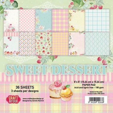 Craft&You Sweet Dessert Small Paper Pad 6x6 36 vel