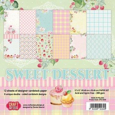 Craft&You Sweet Dessert Paper Set 12x12 12 vel