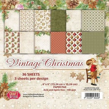 Craft&You Vintage Christmas Small Paper Pad 6x6 36 vel