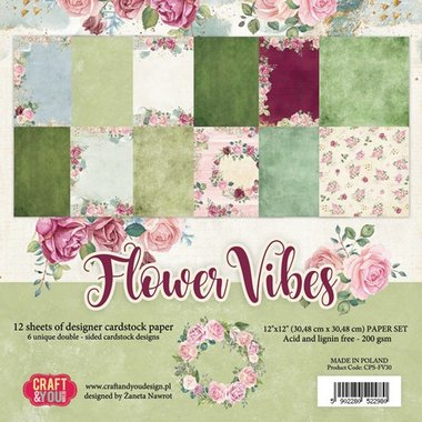 Craft&You Flower Vibes big paper set 12x12 12 vel