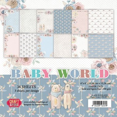 Craft&You Baby World small paper pad 6x6 36 vel